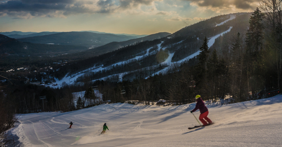 Early morning skiing on Escapade at Sunday River