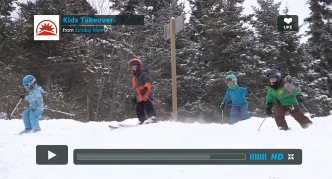 sunday river video kids skiing powder