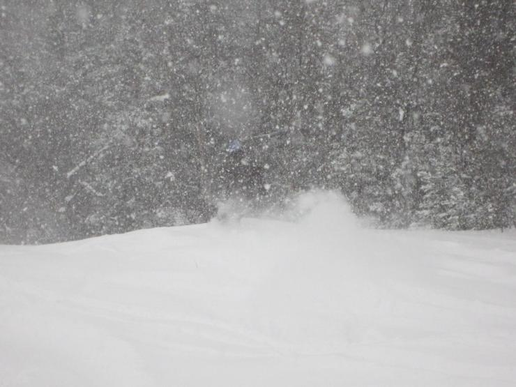 Wearing dark colors in heavy snowfall makes you hard to photography. This is also known as snow-camo.