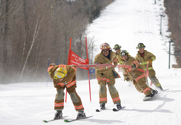 Firefighters' Race may look fun but it gets rather competitive between stations as rivalries build over the years.